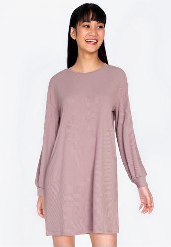 ZALORA BASICS purple Rib Sweater Dress 67537AAB01E585GS_1