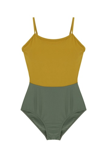 ZITIQUE grey and yellow Women's Vintage Style Color Crush One-piece Swimsuit - Yellow and Grey 5D9F5USC88299CGS_1