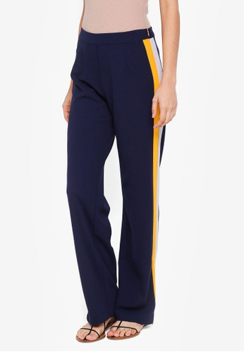 Lubna grey and yellow and blue Zipper Straight Cut Pants 53E3FAA8D4314DGS_1
