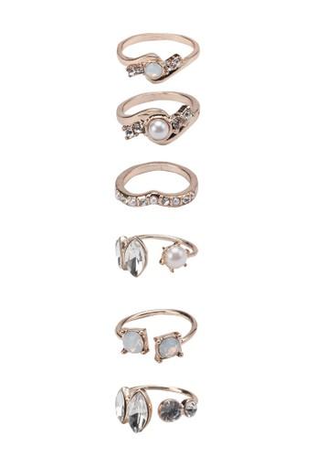 珍珠寶石戒指套組, 飾品zalora 評價配件, 飾品配件