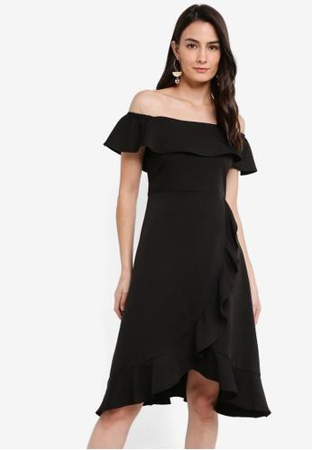 ZALORA black Ruffle Hem Off Shoulder Dress 7A0DBAA373DC63GS_1