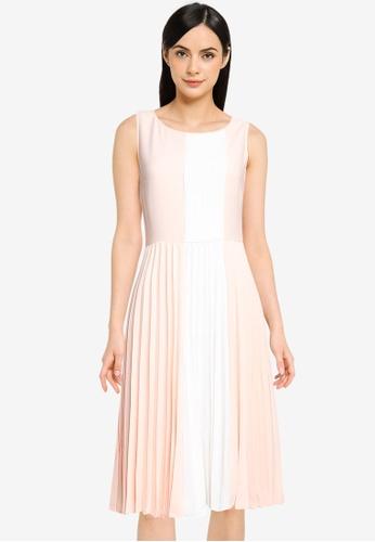 G2000 pink Colourblock Pleated Sleeveless Dress BEBDDAA3D6CFB3GS_1