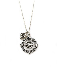 Compass and Heart Necklace