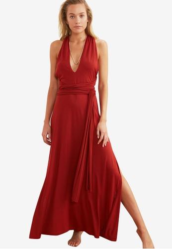 Trendyol 紅色 無袖 長洋裝 B0D0BAA138CA4BGS_1