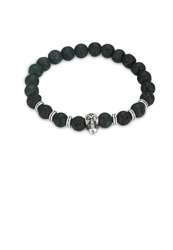 Glamorousky silver Fashion Elegant Skull Volcanic Stone Bracelet EBDC0AC2E0D153GS_1