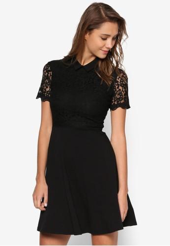 透膚蕾絲短袖小方領洋裝esprit 旺角, 服飾, 洋裝