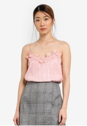 Something Borrowed pink Lace Trim Camisole Top 6F9B2AA6209FE5GS_1