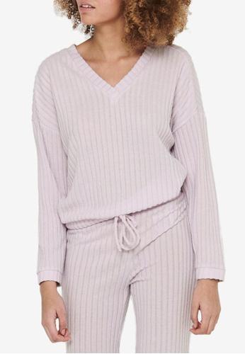 ONLY purple Eva V-neck Sweater E0B06AAF1C91F4GS_1