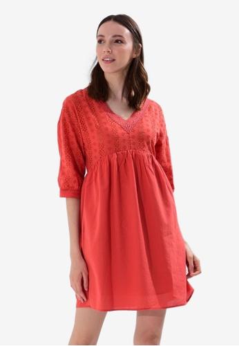 LC WAIKIKI orange Collared Scalloped Dress 388C2AA37AB465GS_1