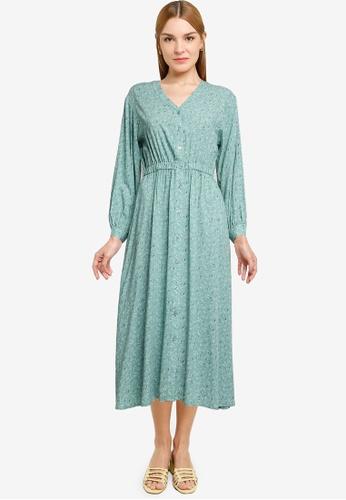 LOWRYS FARM green Printed Buttoned Dress D746CAAF3E8833GS_1