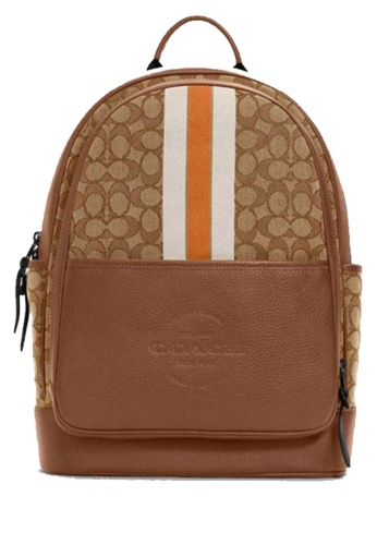 Coach brown COACH Thompson Backpack In Signature Jacquard With Varsity Stripe 7A94CACADB9C81GS_1