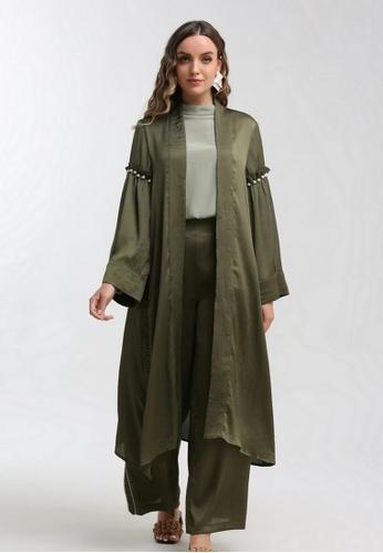 KASHKHA green Embellished flowy coat BCE0AAAA94632FGS_1