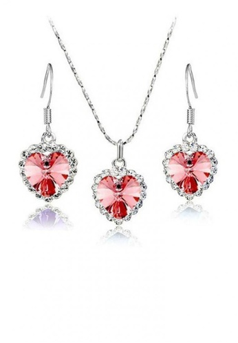 Greatvalueplus pink and silver The Ocean Heart Pendant Necklace Earrings Set by Zumqa GR688AC42FZHPH_1