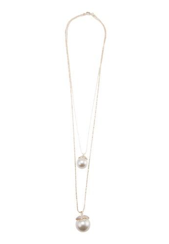 珍珠esprit服飾雙圈項鍊, 飾品配件, 項鍊