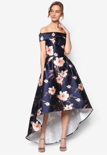 Dinah 印花不對稱裙擺露肩蓋袖連身裙esprit salon hk, 服飾, 洋裝
