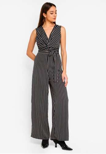TFNC green Patsy Striped Jumpsuit With Bow B1F4EAAD35370FGS_1