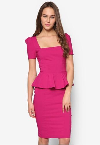 方領荷葉腰飾貼身連身裙, esprit 衣服服飾, 正式洋裝