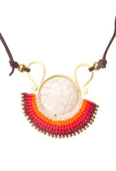 Brass Macrame & Howlite Stone Pendant Necklace