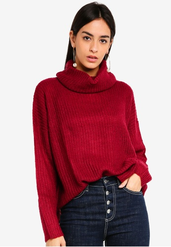 JACQUELINE DE YONG red Daisy High Neck Pullover 58C84AAB0CD585GS_1