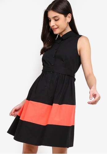 ZALORA black and multi Colour Block Shirt Dress 73F18AA05D9205GS_1