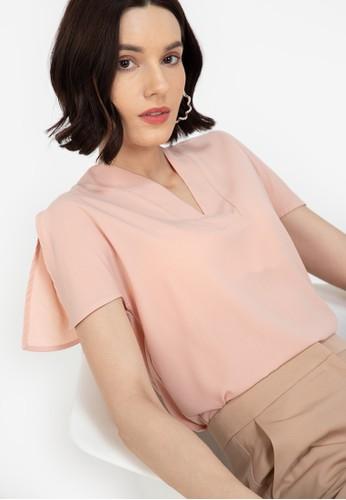 ZALORA WORK pink Split Flutter Sleeves Top E5905AA12E817DGS_1