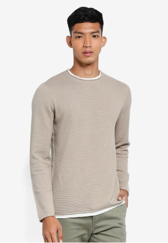 OVS 米褐色 長袖針織衫 8312DAA693DFFDGS_1