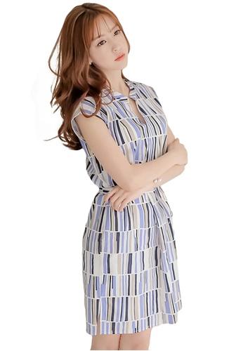 d34fa2fa6 Buy A-IN GIRLS Fashion spell color vertical striped dress | ZALORA HK