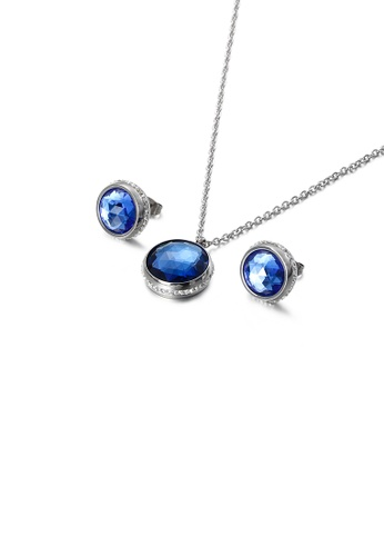 Glamorousky white Fashion Temperament Geometric Round 316L Stainless Steel Necklace and Stud Earring Set with Blue Cubic Zirconia 8E973ACB689E09GS_1