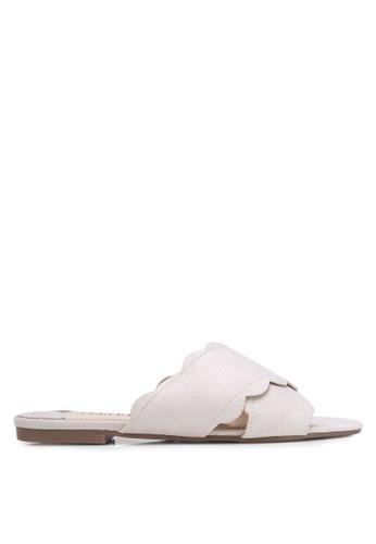 Velvet grey Scallop Slip On Sandals 04EC6SHF43FB9AGS_1