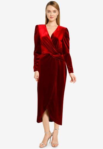 Miss Selfridge red Red Berry Velvet Midi Dress 8D669AA3A382CCGS_1