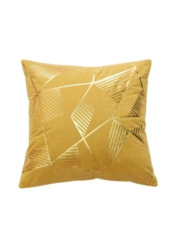 DILAS HOME Geometric Gold Print Cushion Cover (Mustard) D573AHL62242F3GS_1