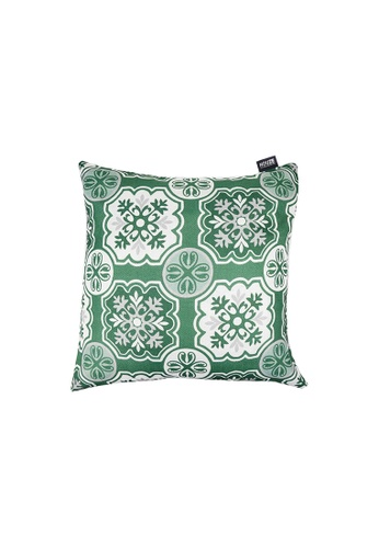 HOUZE green HOUZE - LIV Peranakan Cushion Cover - Green C CB375HL62A78E7GS_1