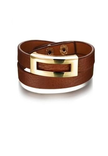 Oxhide brown Oxhide Leather Bracelet Brown Rectangle Design 20B37AC7355763GS_1