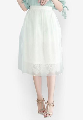 Yoco white Mesh Tulle Skirt 368CEAABDA5C58GS_1