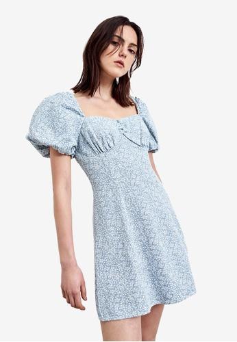 Urban Revivo blue Square Neck Lantern Sleeve Dress 15533AA24D214FGS_1