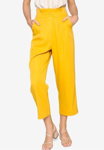 ZALORA WORK yellow Paperbag Tailored Pants 94D2EAA16E4359GS_1