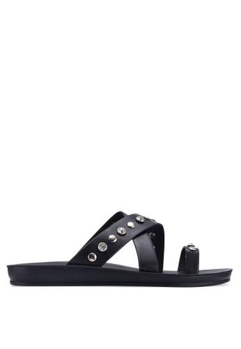 Noveni 黑色 鉚釘交叉繞帶涼鞋 4C674SHA3F4BFCGS_1