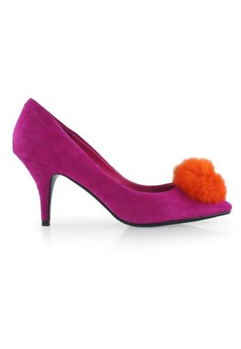 Gripz pink Tease Pointed Pom Pom Suede Heels GR357SH05SNMSG_1