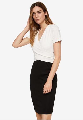 Mango white Contrasting Design Dress 7DA0BAAC60F029GS_1