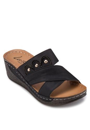 交叉寬帶厚底zalora 鞋評價涼鞋, 女鞋, 楔形涼鞋