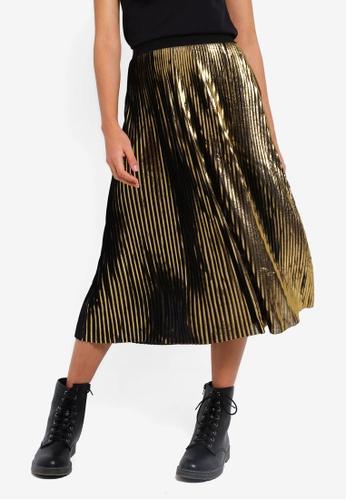 Cotton On gold Woven Daria Pleated Midi Skirt B31B0AA9E18BA2GS_1