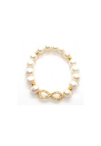 Shinju Pearls white and gold SHINJU PEARLS-Fresh Water Pearl with Infinity Connector Elastic Bracelet 3AEA7AC66FA78BGS_1