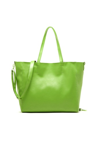 LULUGIFT green Fruit Fun US Branded PU Leather Tote Bag LU989AC36LYTMY_1
