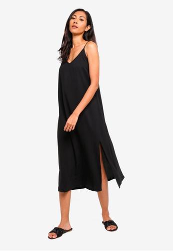 ZALORA BASICS black Basic Midi Slip Dress 2342BAA5E6D778GS_1
