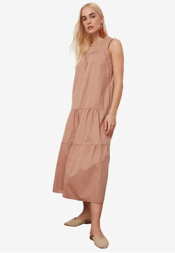Trendyol brown Sleeveless Tiered Maxi Dress B0E61AA65384DCGS_1