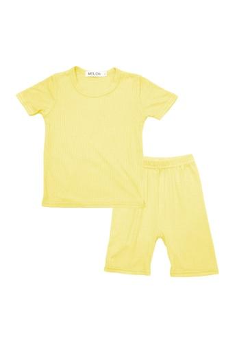 MELON yellow *NEW* COTTON RIBBED LOUNGEWEAR SET, PINEAPPLE YELLOW 5F9ABKA9333681GS_1