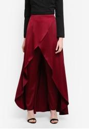 Zalia red Satin Dip Hem Skirt Pants 53BBFZZB01393EGS_1