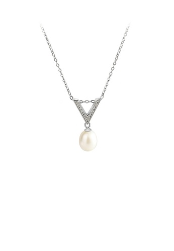Glamorousky white 925 Sterling Silver Simple Temperament Triangle White Freshwater Pearl Pendant with Cubic Zirconia and Necklace D6582ACEEA478DGS_1