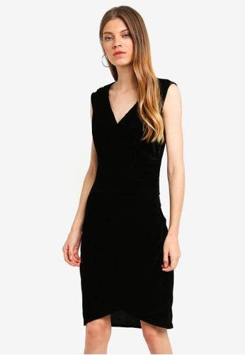 Brave Soul black Wrap Over Drape Front Velvet Dress 7CF39AAD984179GS_1