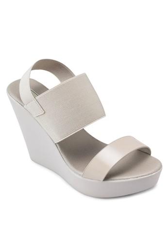 彈性繞踝厚底楔形涼鞋,esprit 錶 女鞋, 鞋
